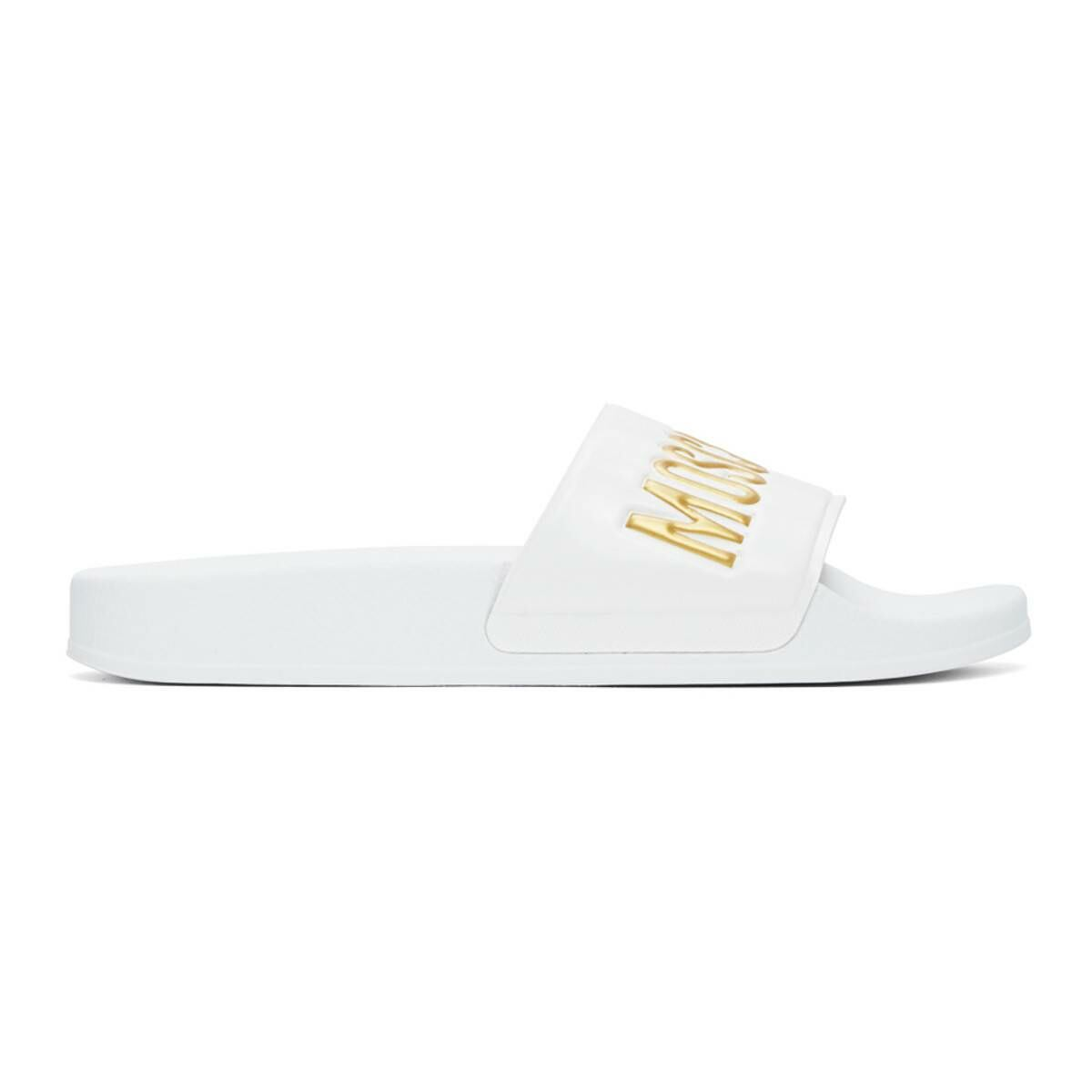 Moschino White and Gold Logo Slides Ssense USA MEN Men SHOES Mens SANDALS