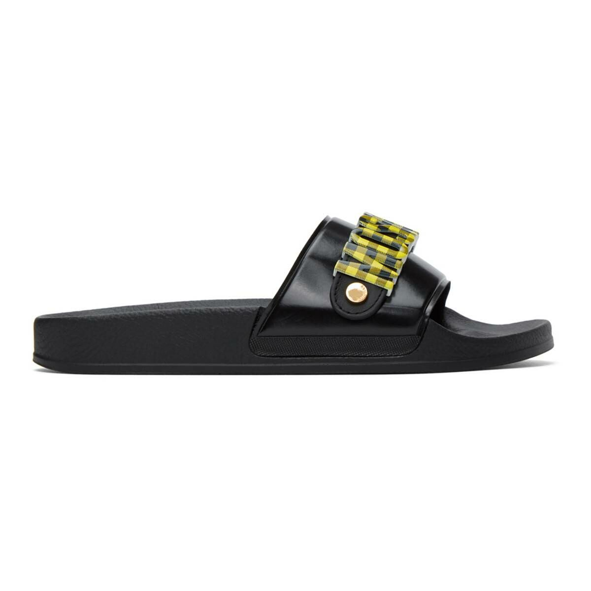 Moschino Yellow and Black Checkered Logo Slides Ssense USA MEN Men SHOES Mens SANDALS