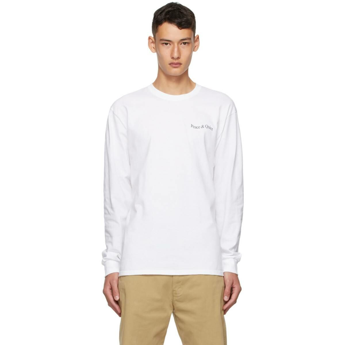 Museum of Peace and Quiet White Wordmark Warped Long Sleeve T-Shirt Ssense USA MEN Men FASHION Mens T-SHIRTS