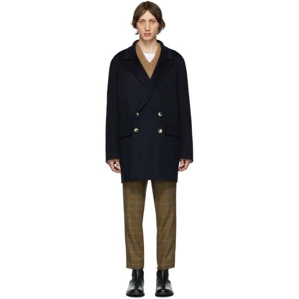 Nanushka Navy Aiden Coat Ssense USA MEN Men FASHION Mens COATS