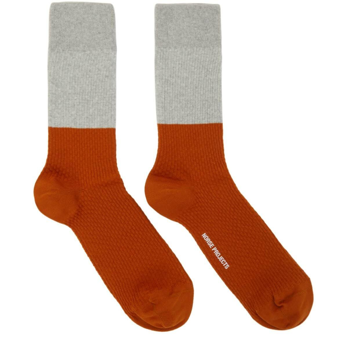 Norse Projects Grey and Orange Colorblock Bjarki Socks Ssense USA MEN Men ACCESSORIES Mens SOCKS