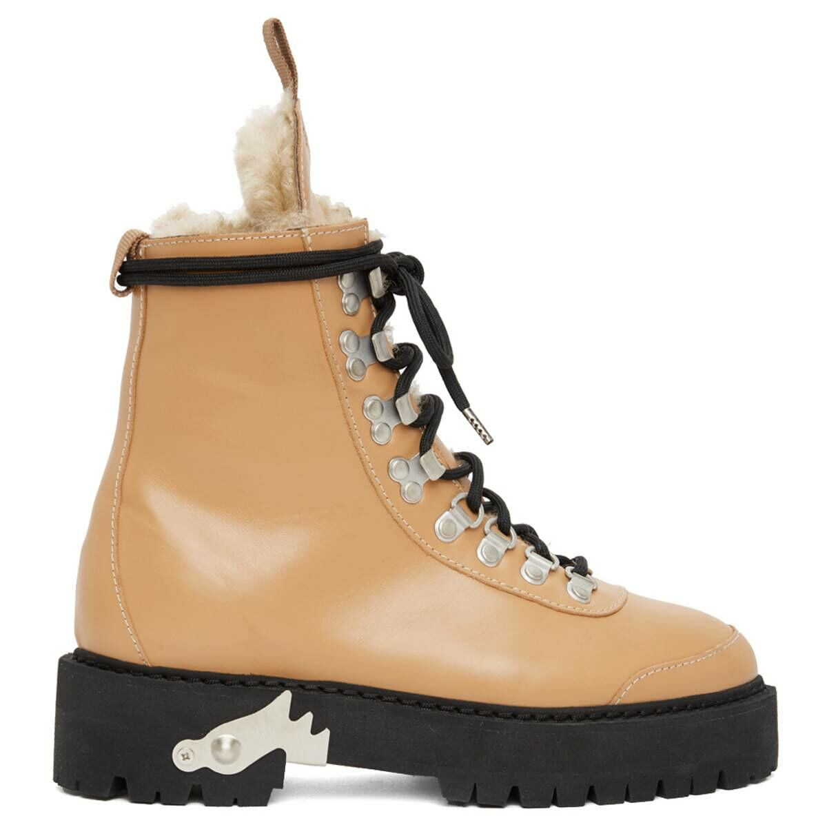 Off-White Beige Shearling and Leather Hiking Boots Ssense USA WOMEN Women SHOES Womens ANKLE BOOTS