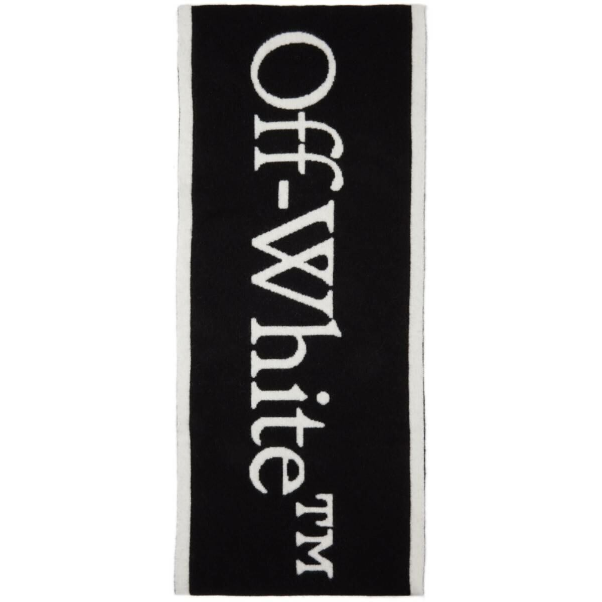 Off-White Black and White Felted Wool New Logo Scarf Ssense USA MEN Men ACCESSORIES Mens SCARFS