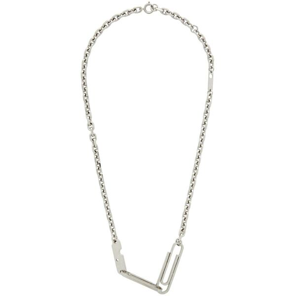 Off-White Silver Double Paperclip Necklace Ssense USA WOMEN Women ACCESSORIES Womens JEWELRY