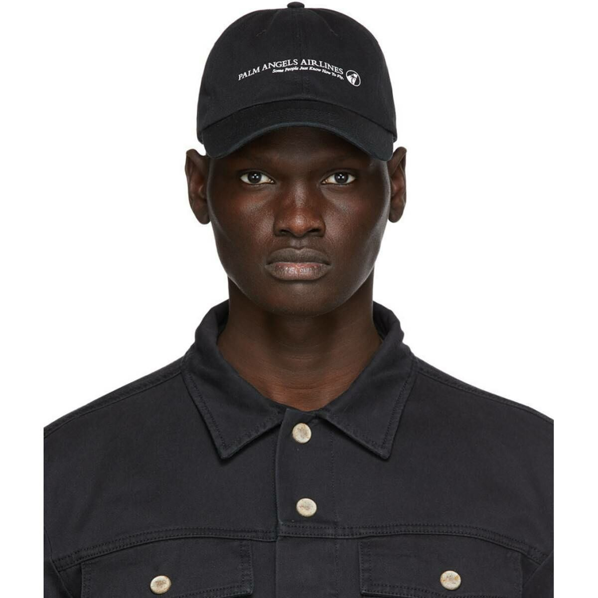 Palm Angels Black Palm Angels Airlines Cap Ssense USA MEN Men ACCESSORIES Mens CAPS