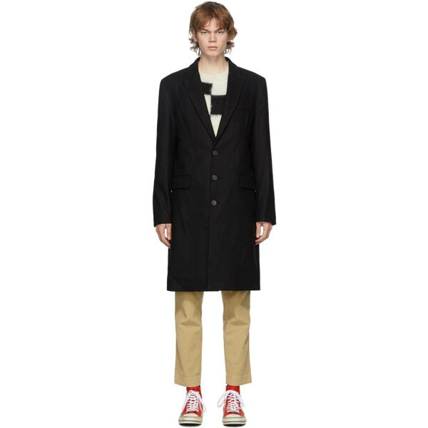 Palm Angels Black Wool Logo Coat Ssense USA MEN Men FASHION Mens COATS