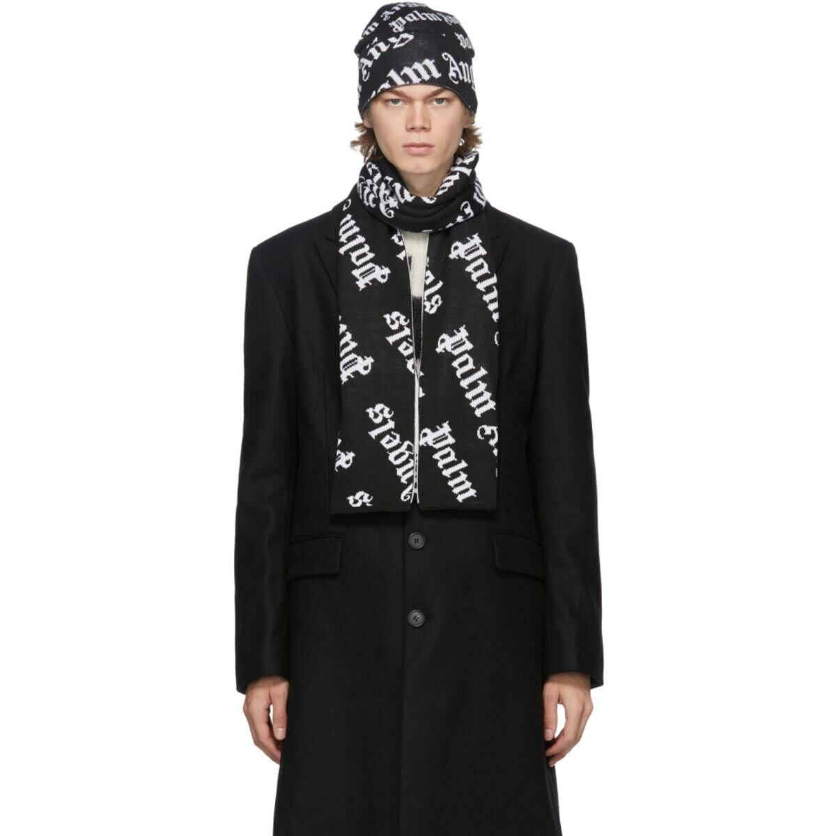 Palm Angels Black and White Logo Beanie and Scarf Set Ssense USA MEN Men ACCESSORIES Mens HATS