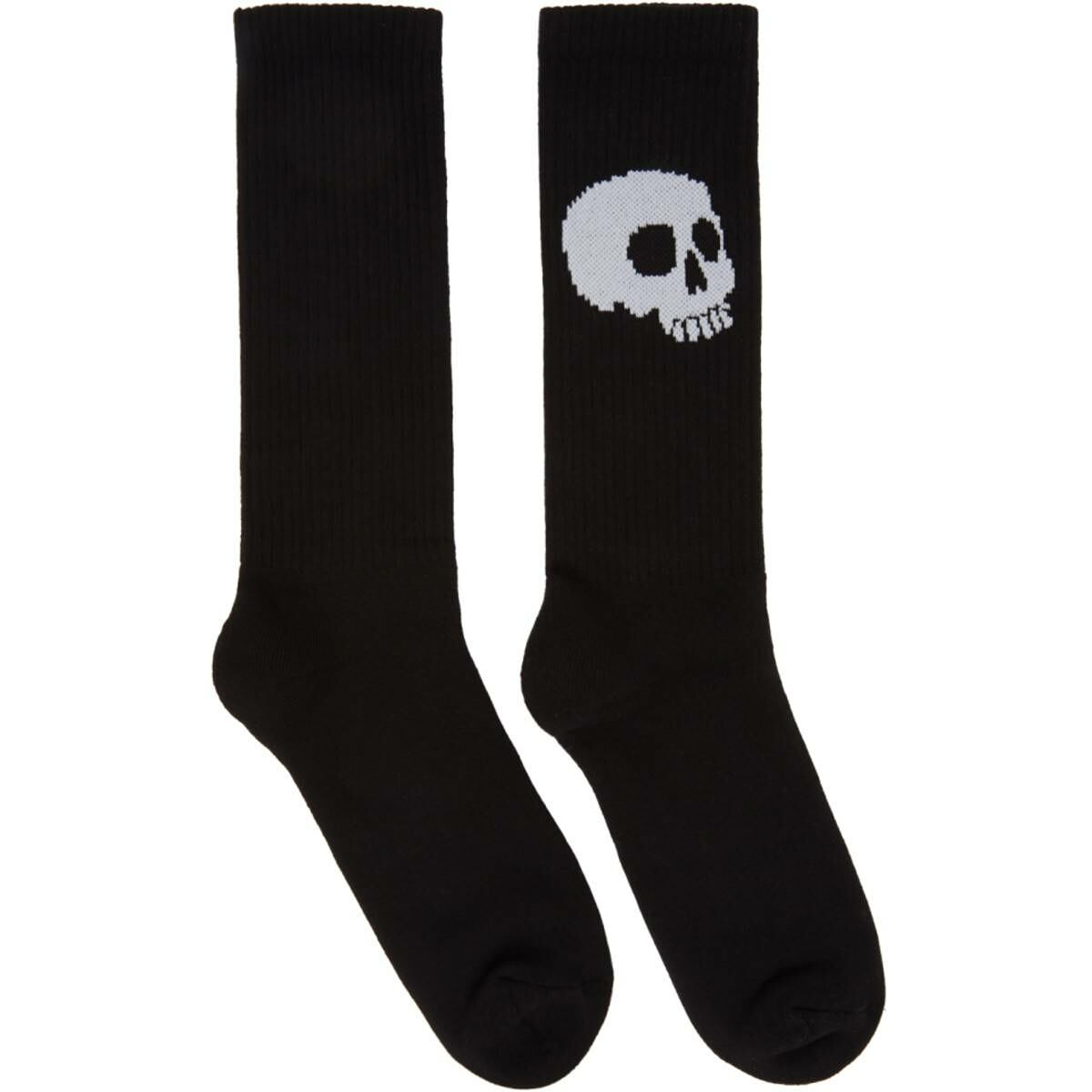 Palm Angels Black and White Skull Socks Ssense USA MEN Men ACCESSORIES Mens SOCKS