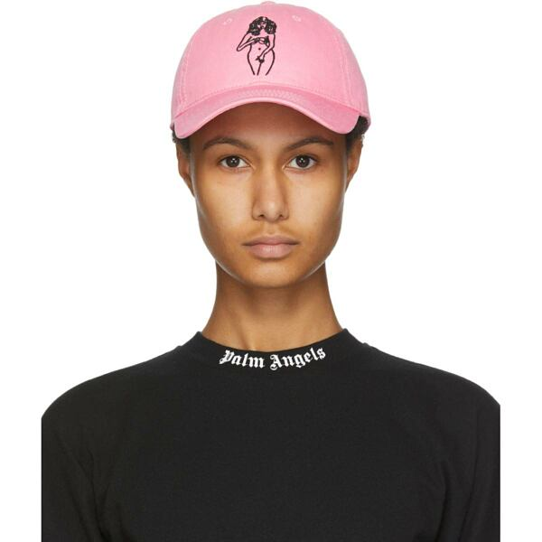 Palm Angels Pink Embroidered Woman Cap Ssense USA WOMEN Women ACCESSORIES Womens CAPS