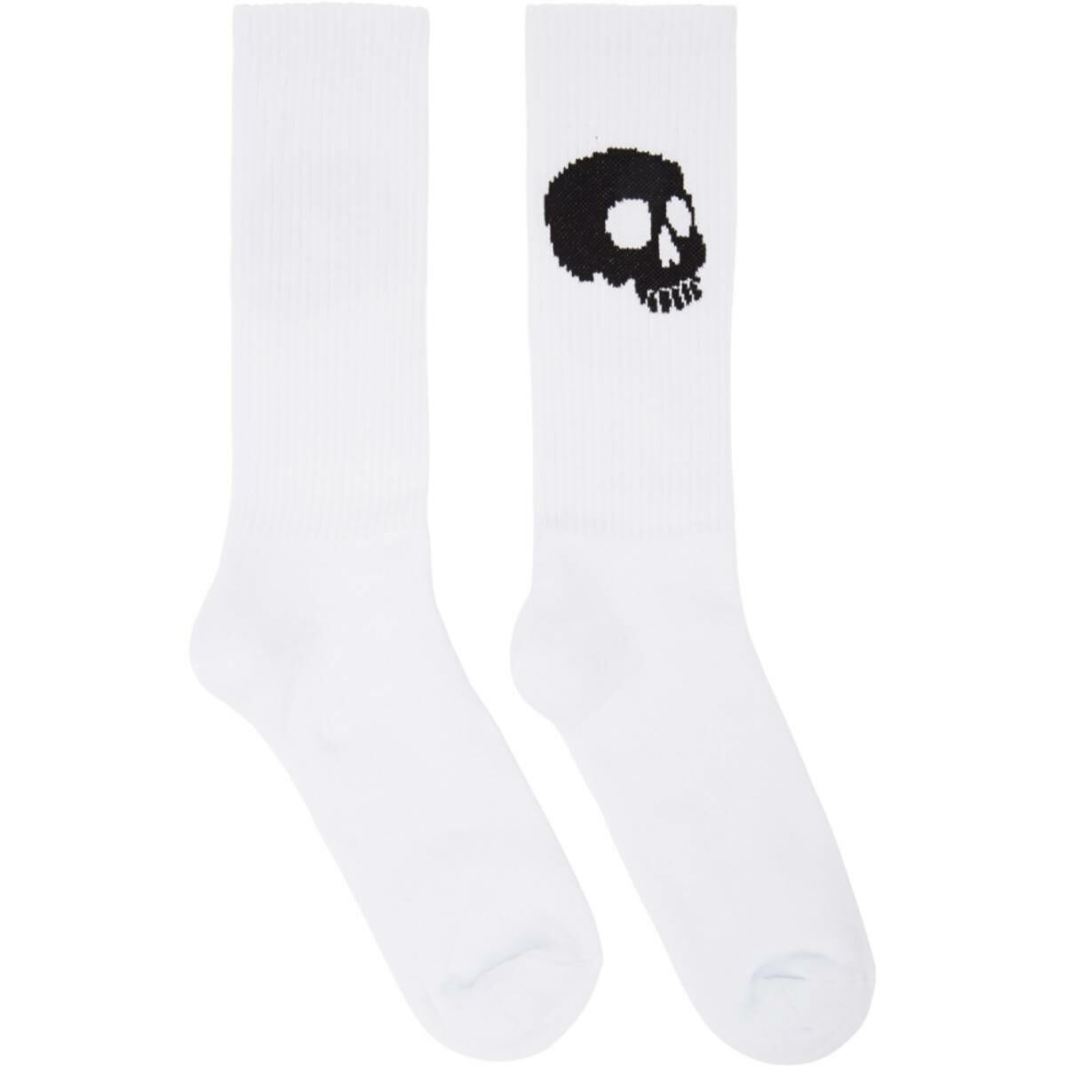 Palm Angels White and Black Skull Socks Ssense USA MEN Men ACCESSORIES Mens SOCKS