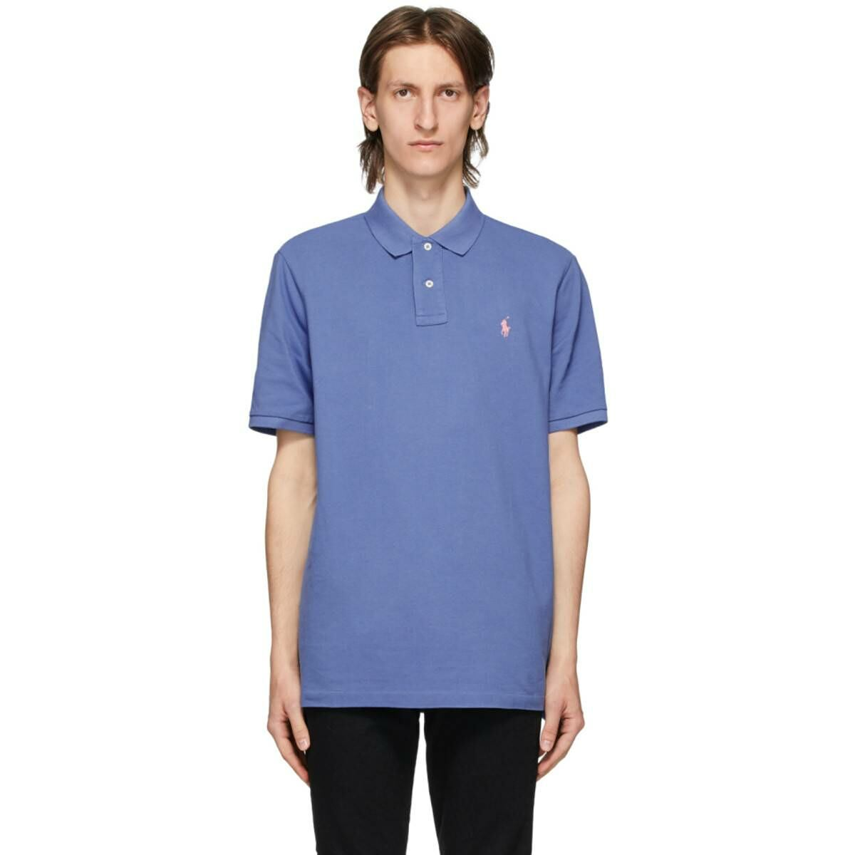 Polo Ralph Lauren Blue Mesh Iconic Polo Ssense USA MEN Men FASHION Mens POLOSHIRTS