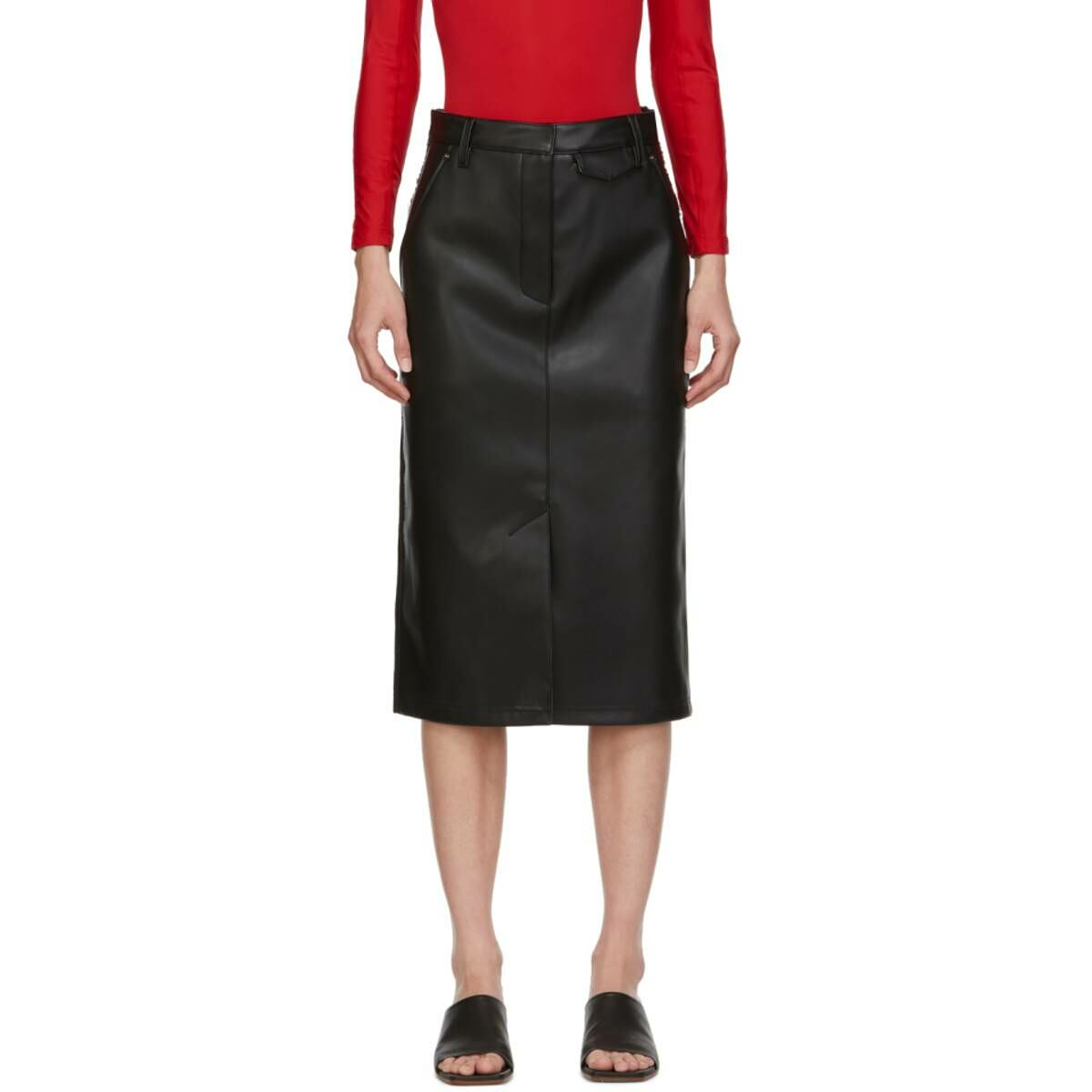 Pushbutton SSENSE Exclusive Black Faux-Leather and Denim Skirt Ssense USA WOMEN Women FASHION Womens SKIRTS