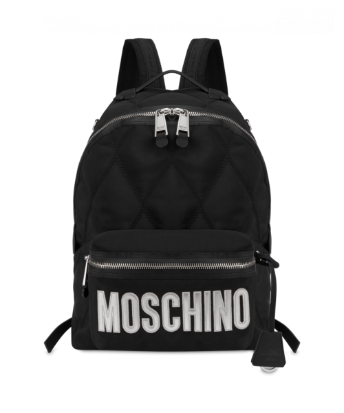 Quilted Backpack With Logo Moschino UK MEN Men ACCESSORIES Mens BAGS