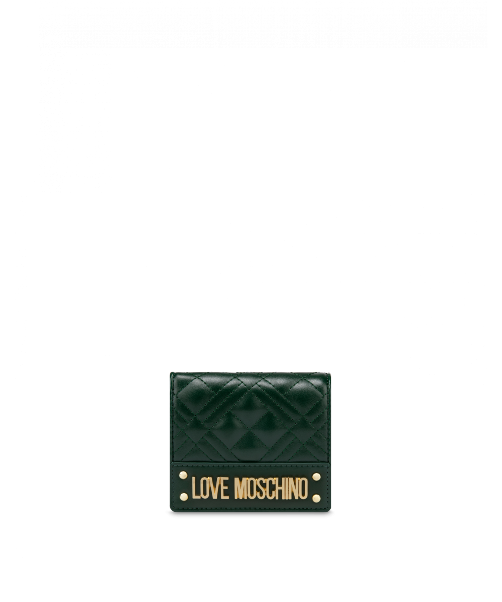 Quilted Wallet With Logo Moschino UK WOMEN Women ACCESSORIES Womens WALLETS