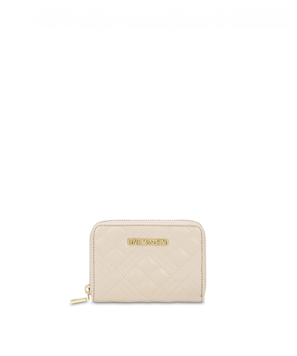 Quilted Zip Around Wallet With Logo Embroidery Moschino UK WOMEN Women ACCESSORIES Womens WALLETS