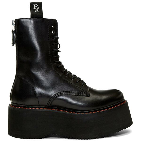 R13 Black Double Stacked Platform Lace-Up Boots Ssense USA WOMEN Women SHOES Womens ANKLE BOOTS
