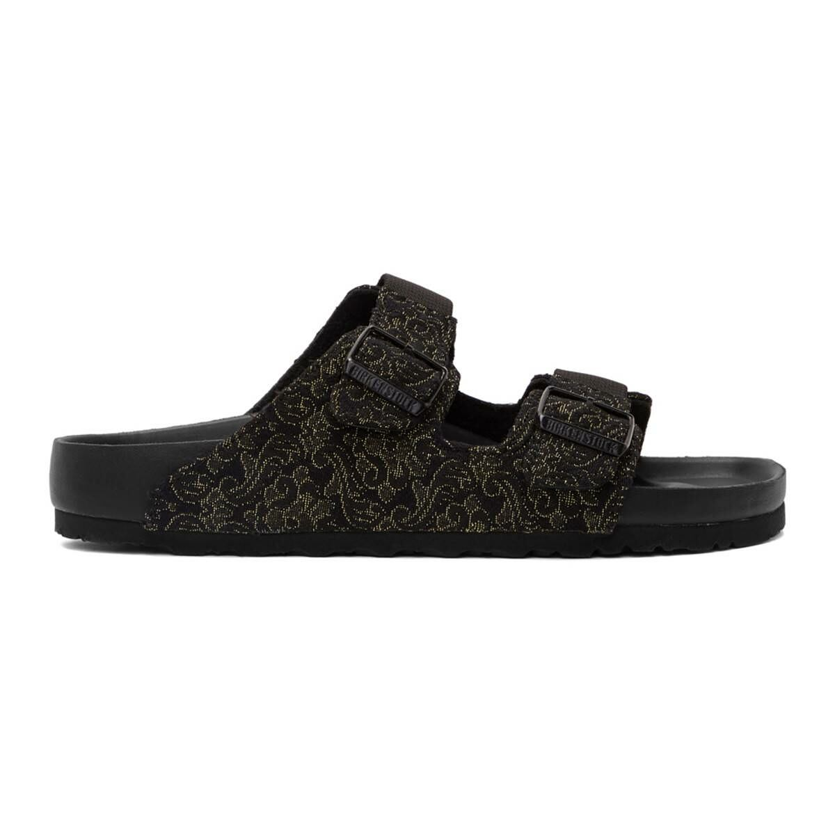 Random Identities Black and Gold Birkenstock Edition Jacquard Arizona Sandals Ssense USA MEN Men SHOES Mens SANDALS