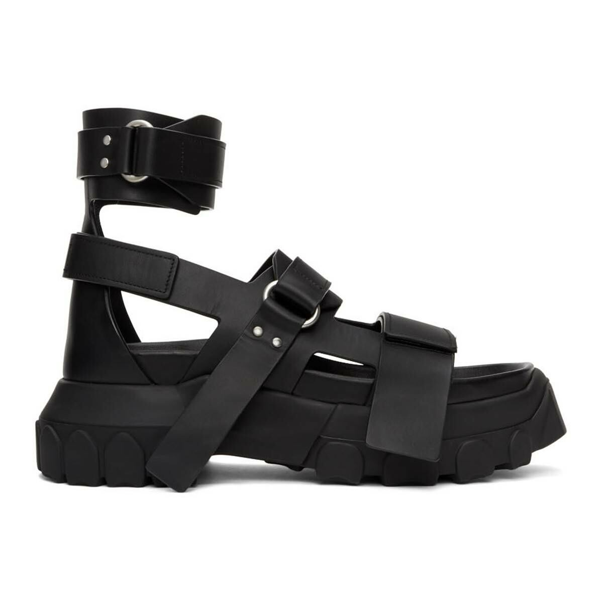 Rick Owens Black Ankle Strap Tractor Sandals Ssense USA MEN Men SHOES Mens SANDALS
