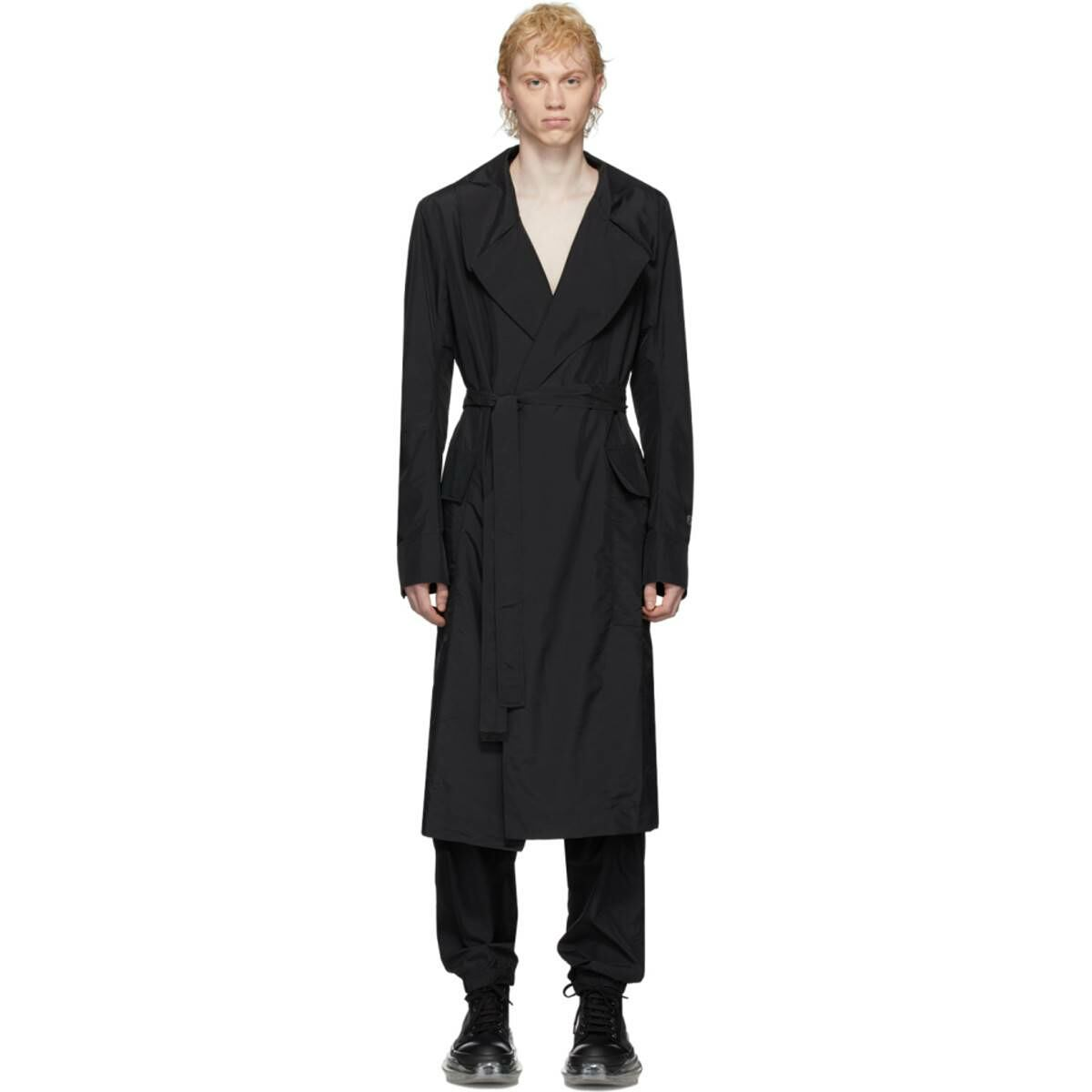 Rick Owens Black Champion Edition Nylon Trench Coat Ssense USA MEN Men FASHION Mens COATS