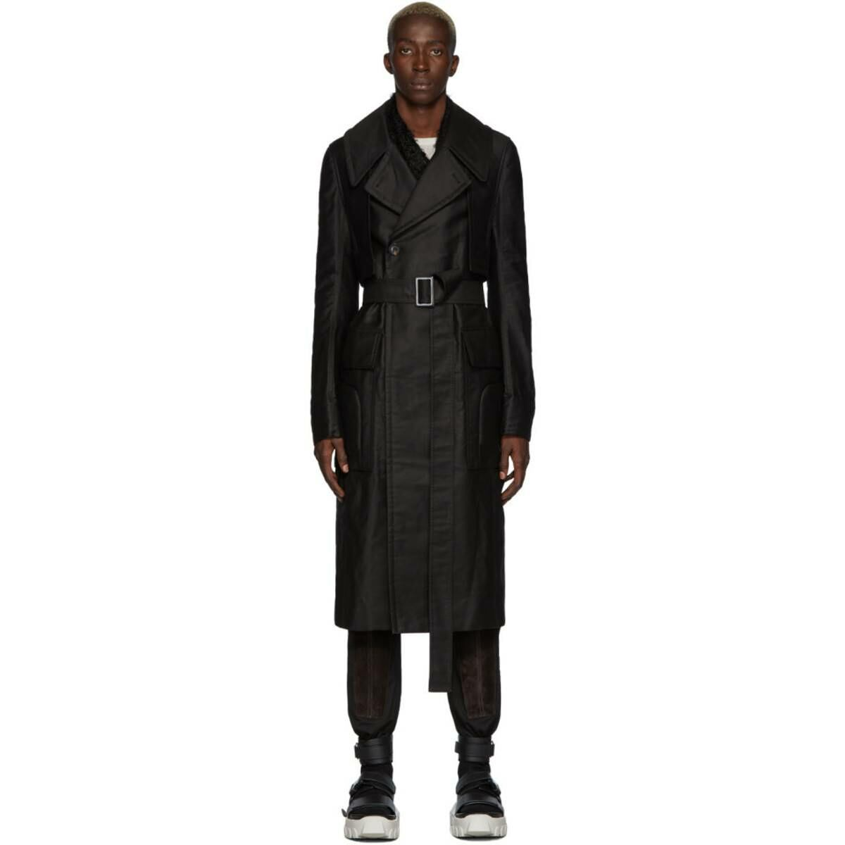 Rick Owens Black Drella Trench Coat Ssense USA MEN Men FASHION Mens COATS