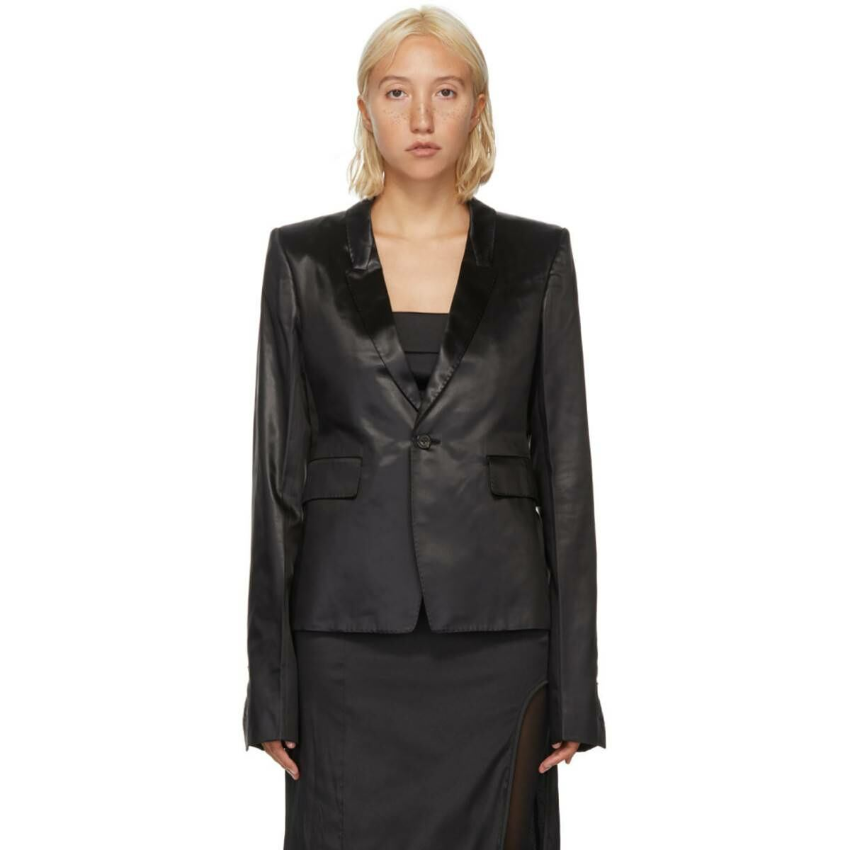 Rick Owens Black Satin Soft Blazer Ssense USA WOMEN Women FASHION Womens BLAZER
