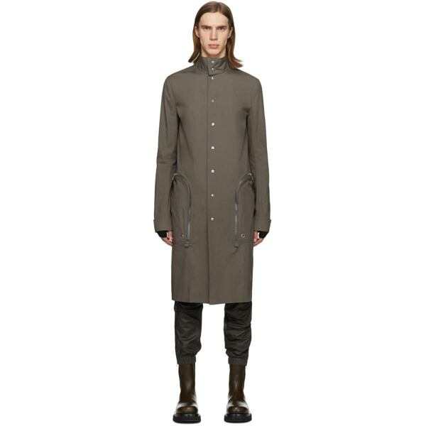 Rick Owens Grey Creatch Pealab Coat Ssense USA MEN Men FASHION Mens COATS