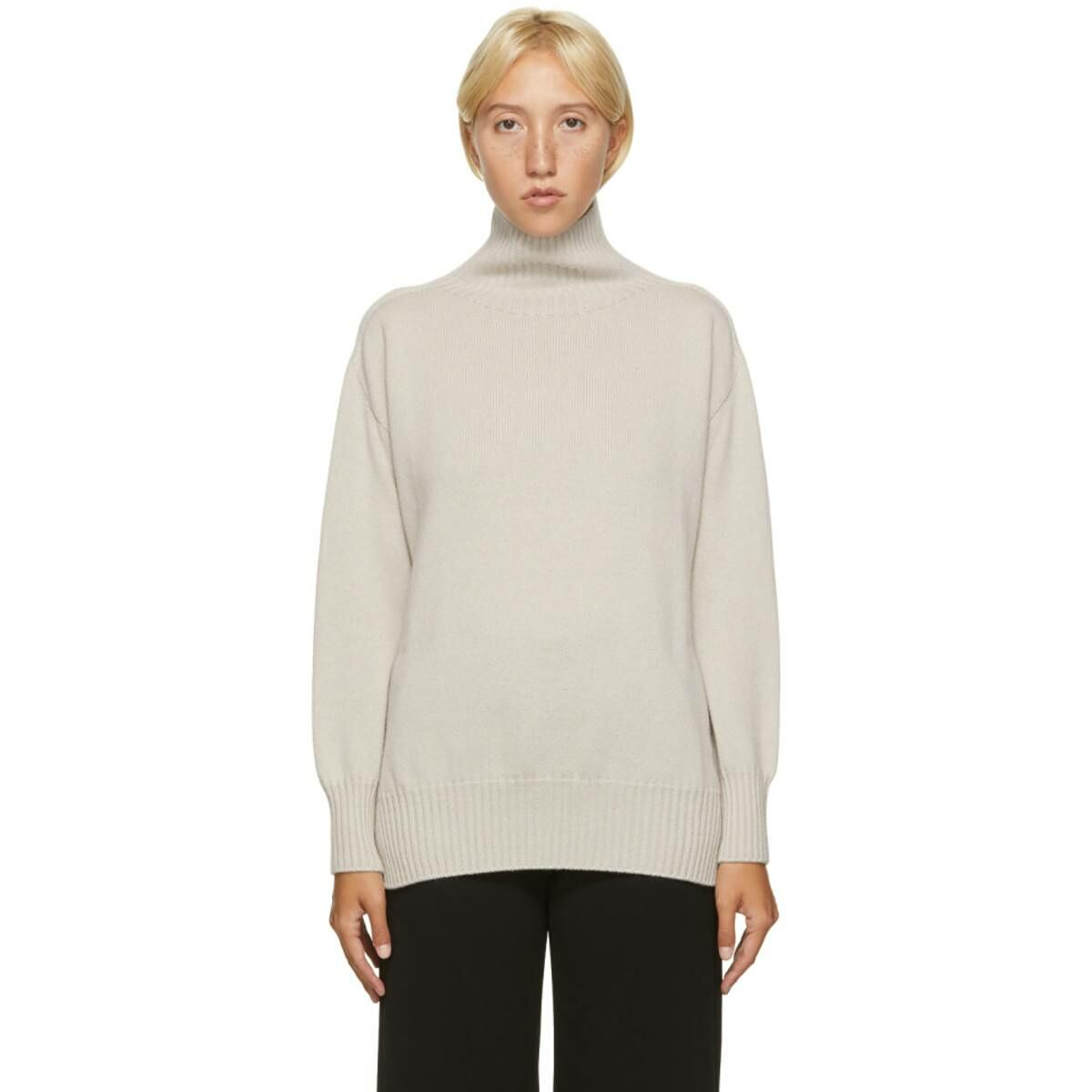 S Max Mara Beige Cashmere Gnomi Turtleneck Ssense USA WOMEN Women FASHION Womens KNITWEAR