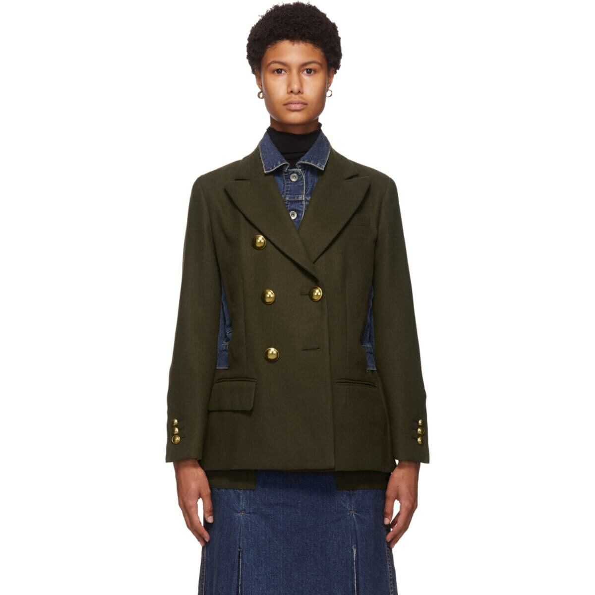 Sacai Khaki and Blue Wool Denim Combo Jacket Ssense USA WOMEN Women FASHION Womens BLAZER