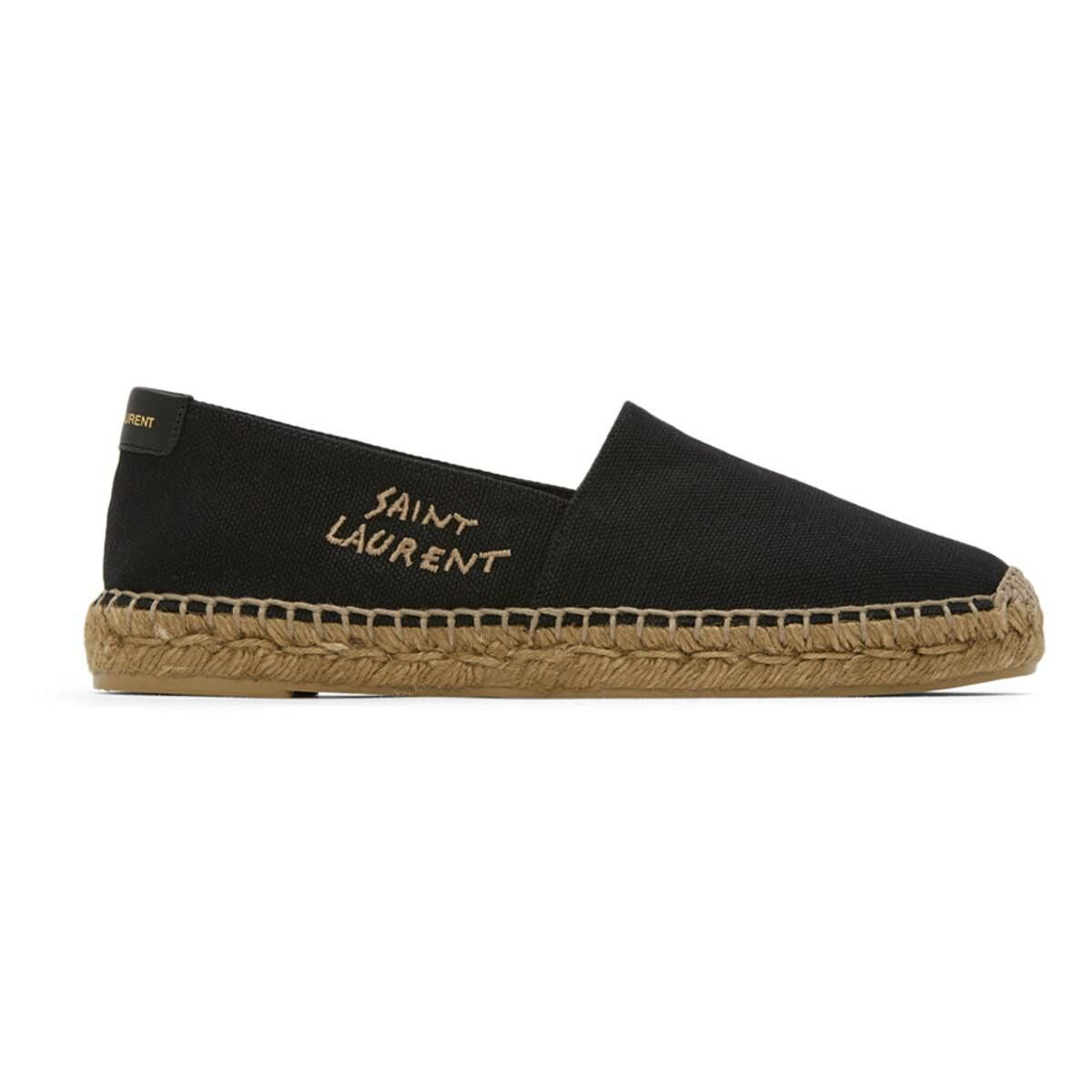 Saint Laurent Black Embroidered Logo Espadrilles Ssense USA MEN Men SHOES Mens LOAFERS