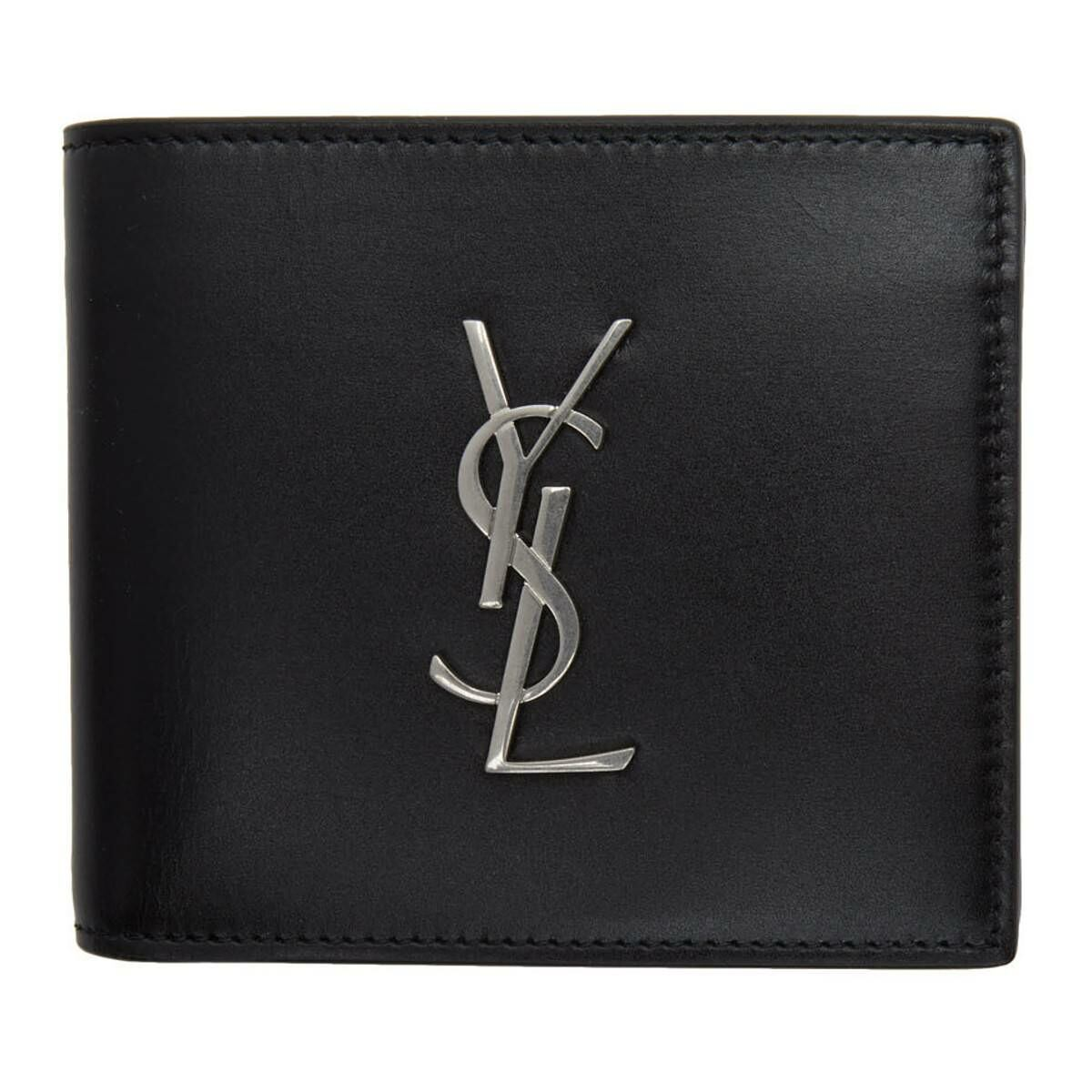 Saint Laurent Black Logo Billfold Wallet Ssense USA MEN Men ACCESSORIES Mens WALLETS