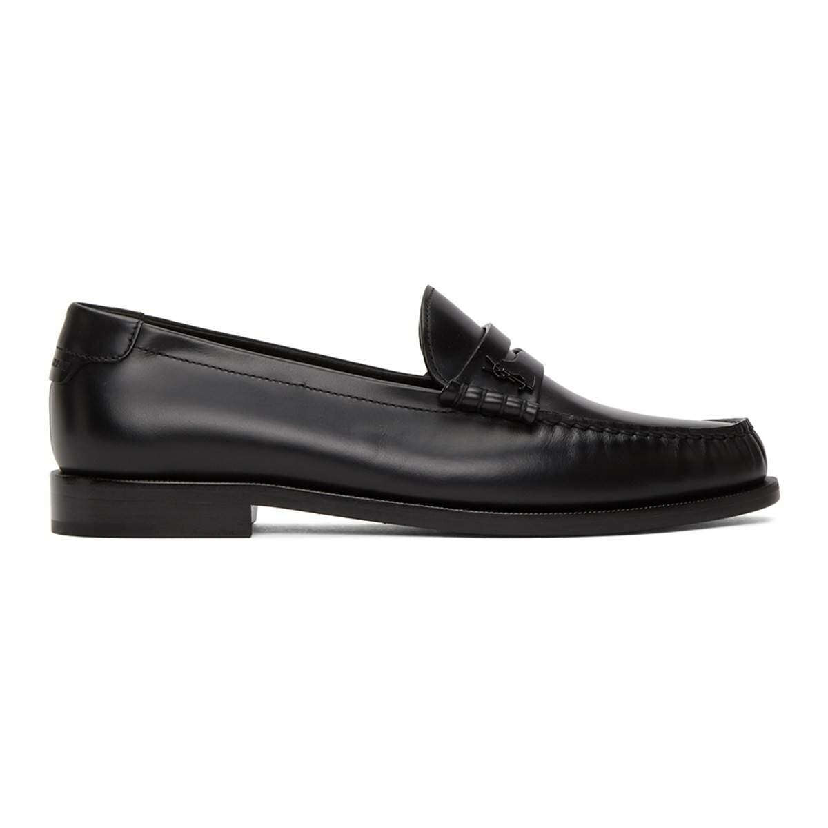 Saint Laurent Black Monogram Penny Slippers Ssense USA MEN Men SHOES Mens LOAFERS