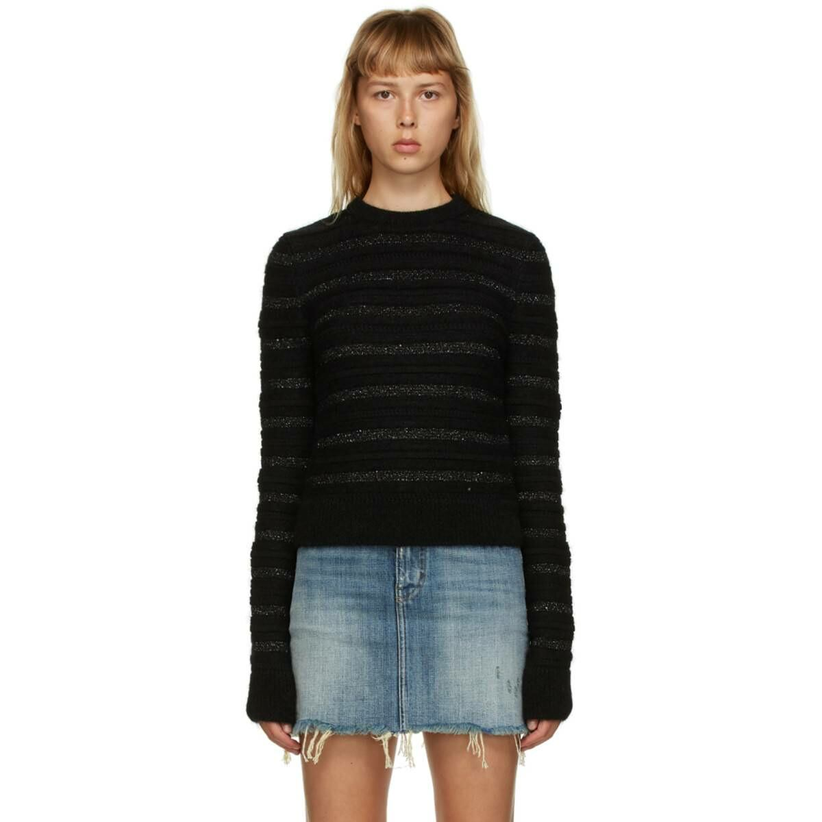 Saint Laurent Black Striped Sequin Crewneck Ssense USA WOMEN Women FASHION Womens KNITWEAR