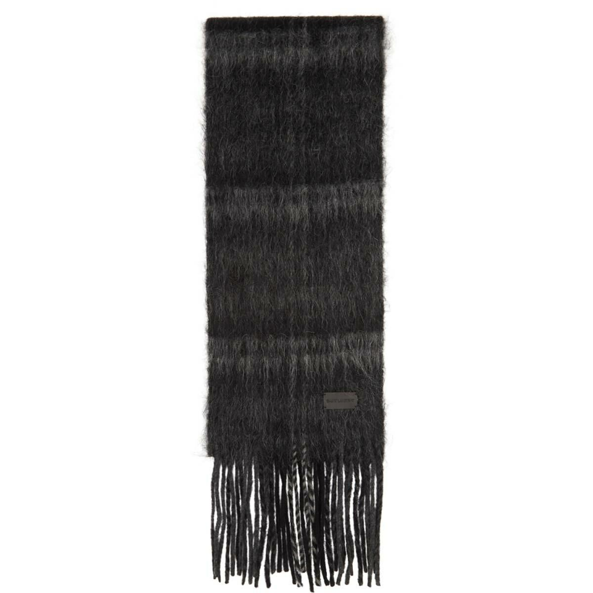 Saint Laurent Black and Grey Tartan Medium Scarf Ssense USA MEN Men ACCESSORIES Mens SCARFS