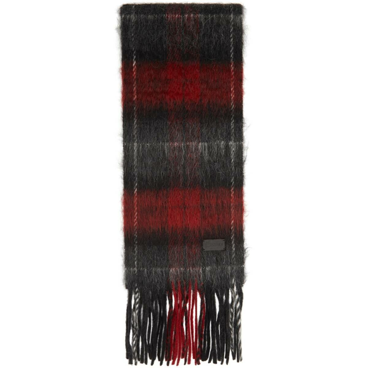 Saint Laurent Black and Red Tartan Small Scarf Ssense USA MEN Men ACCESSORIES Mens SCARFS