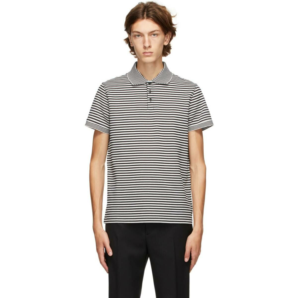 Saint Laurent Black and White Striped Polo Ssense USA MEN Men FASHION Mens POLOSHIRTS