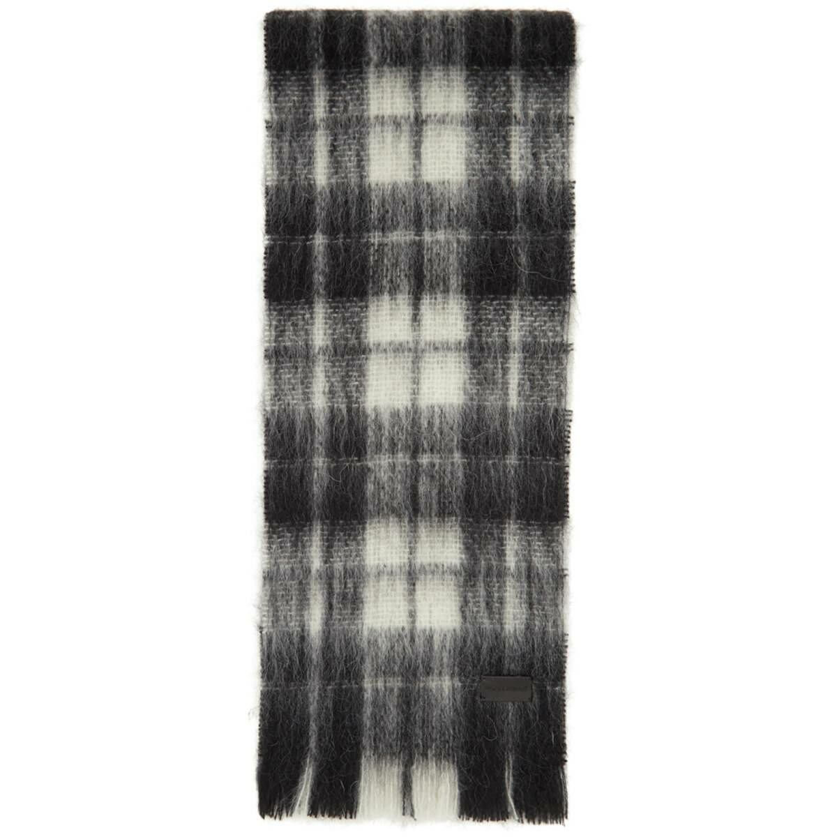 Saint Laurent Black and White Tartan Small Scarf Ssense USA MEN Men ACCESSORIES Mens SCARFS