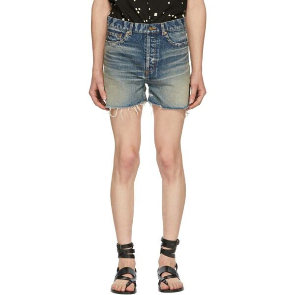 Saint Laurent Blue Denim Shorts Ssense USA MEN Men FASHION Mens SHORTS