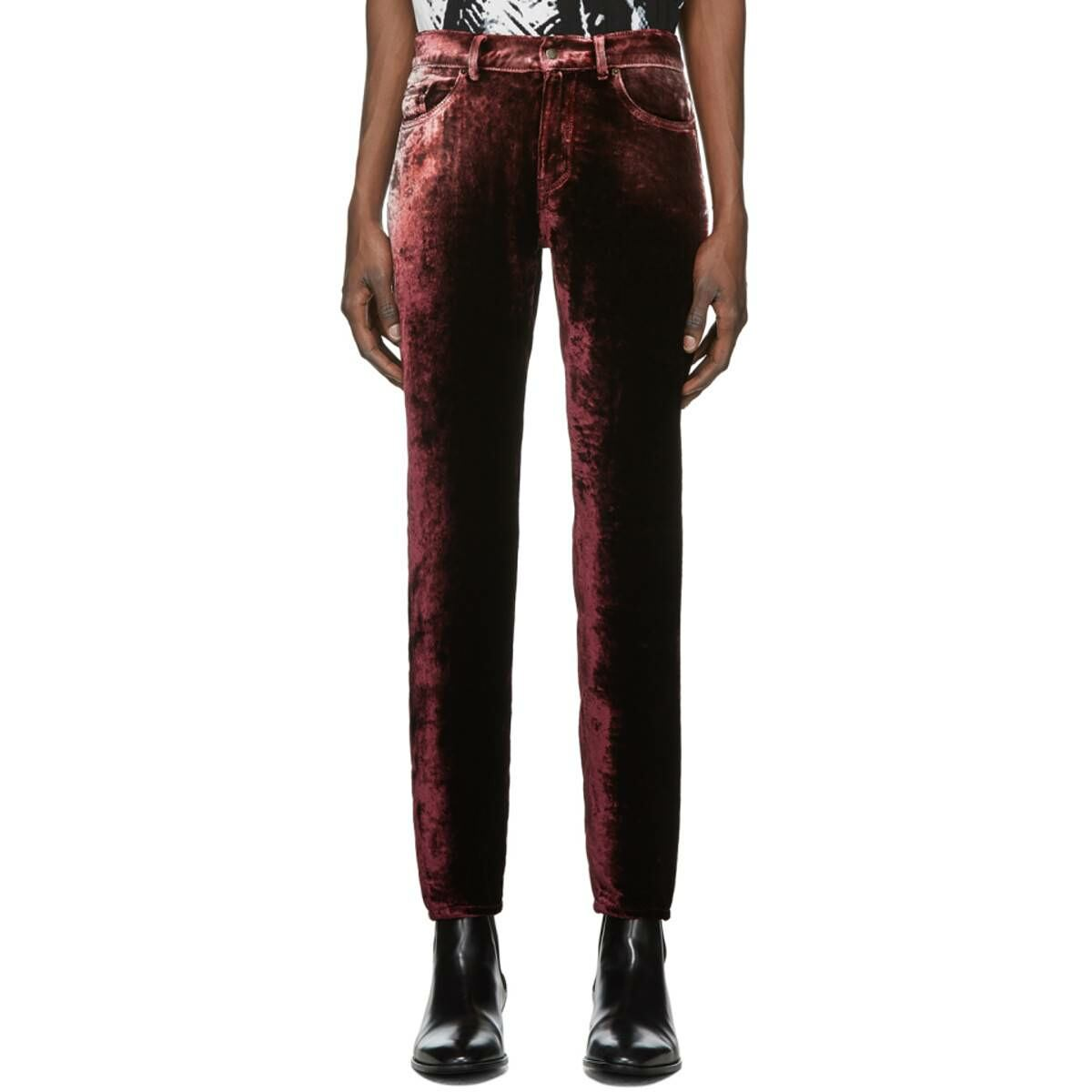 Saint Laurent Burgundy Velvet Trousers Ssense USA MEN Men FASHION Mens TROUSERS