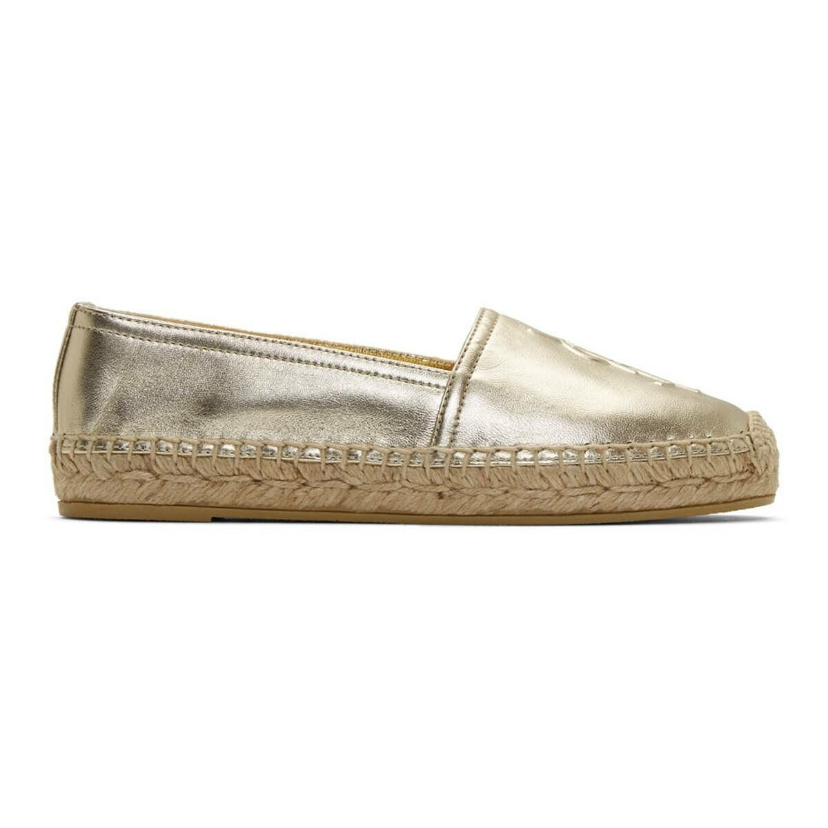 Saint Laurent Gold Monogramme Espadrilles Ssense USA WOMEN Women SHOES Womens FLAT SHOES