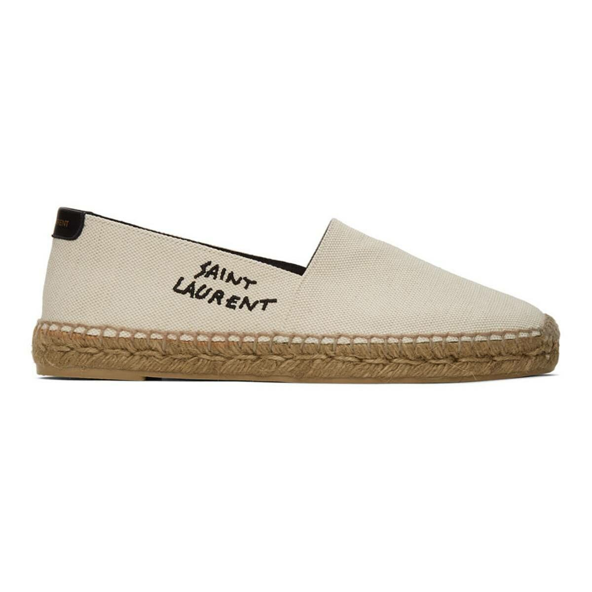 Saint Laurent Off-White Embroidered Espadrilles Ssense USA MEN Men SHOES Mens LOAFERS