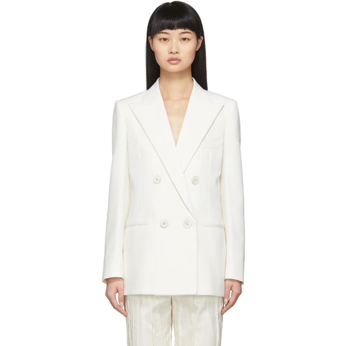 Saint Laurent White Wool Double-Breasted Blazer Ssense USA WOMEN Women FASHION Womens BLAZER