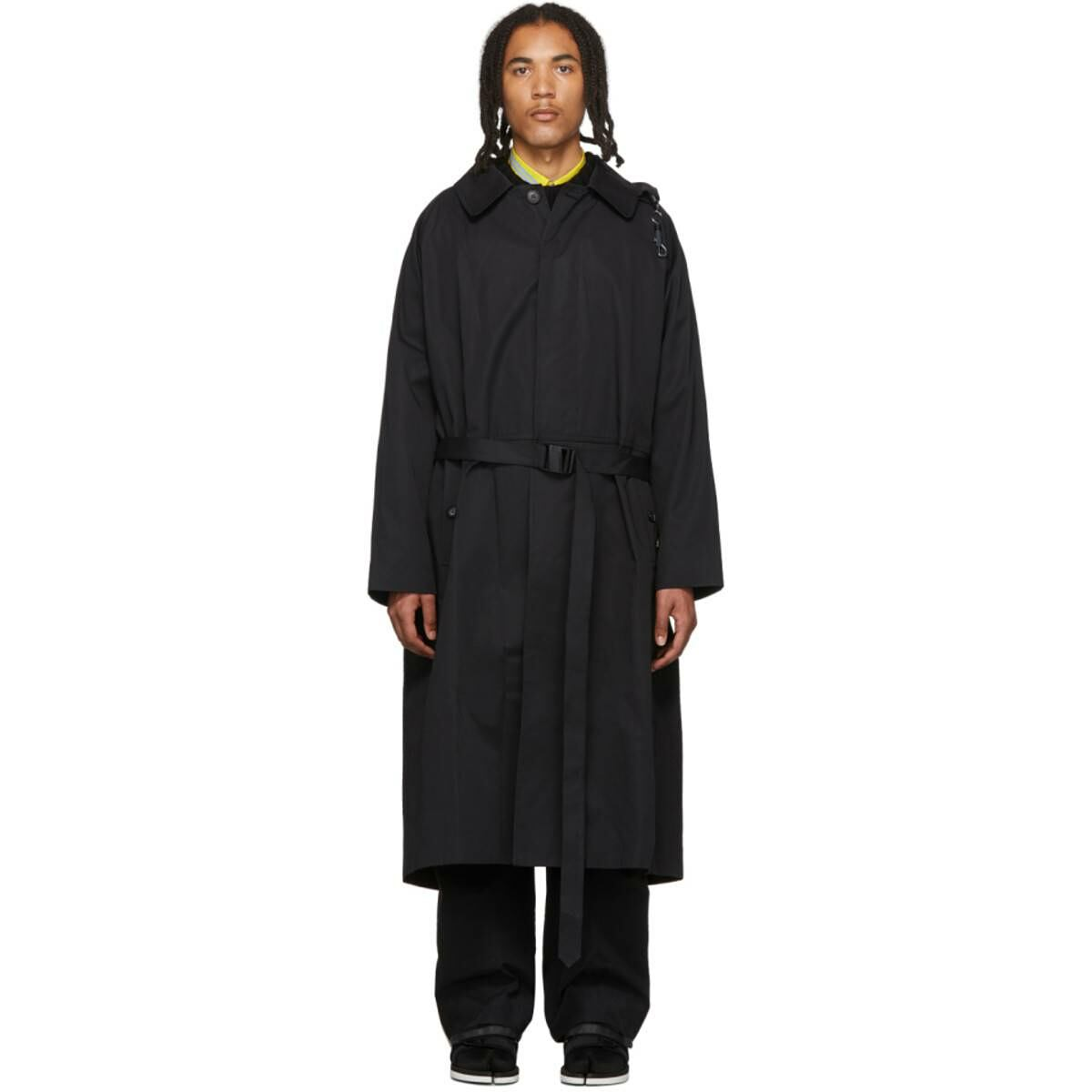 Sankuanz Black Trench Coat Ssense USA MEN Men FASHION Mens COATS