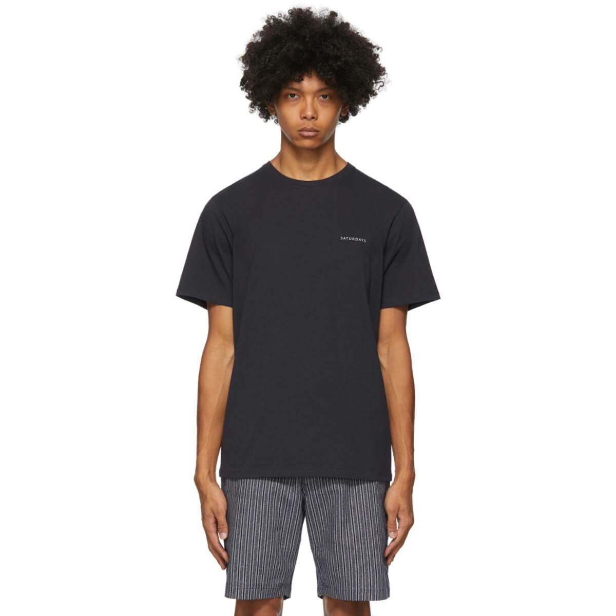 Saturdays NYC Navy Leon T-Shirt Ssense USA MEN Men FASHION Mens T-SHIRTS