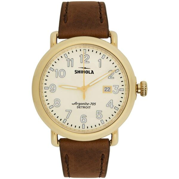 Shinola Gold and Off-White The Runwell 41mm Watch Ssense USA MEN Men ACCESSORIES Mens WATCHES