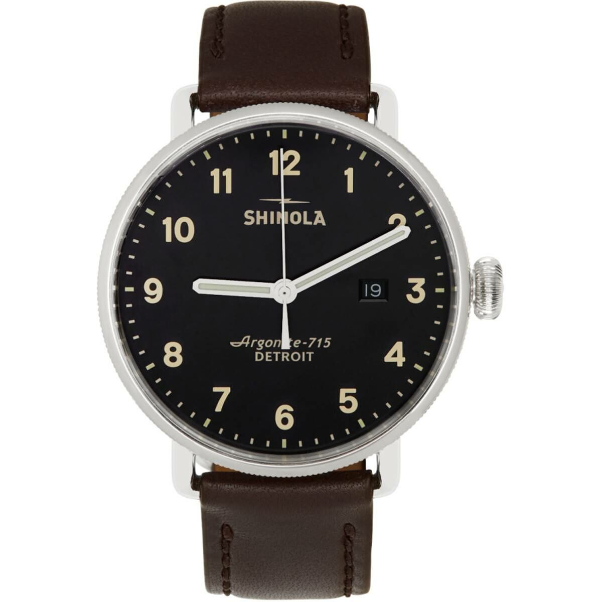 Shinola Silver and Black The Canfield 43mm Watch Ssense USA MEN Men ACCESSORIES Mens WATCHES