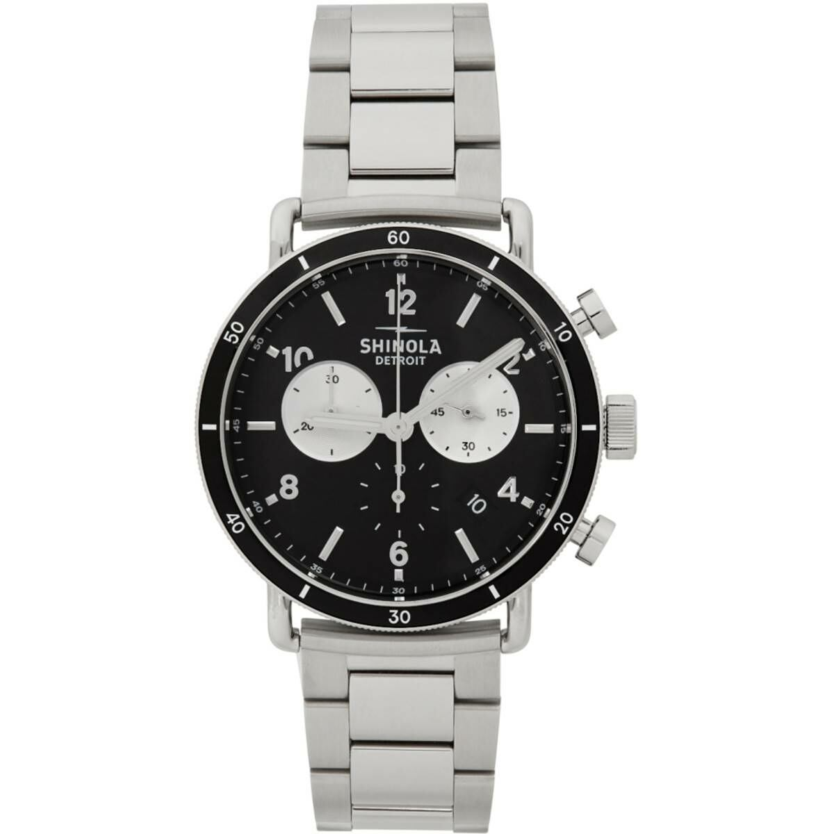 Shinola Silver and Black The Canfield Sport 40mm Watch Ssense USA MEN Men ACCESSORIES Mens WATCHES