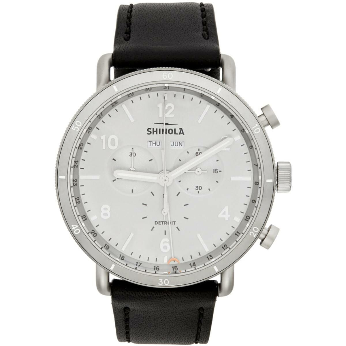 Shinola Silver and Black The Canfield Sport 45mm Watch Ssense USA MEN Men ACCESSORIES Mens WATCHES