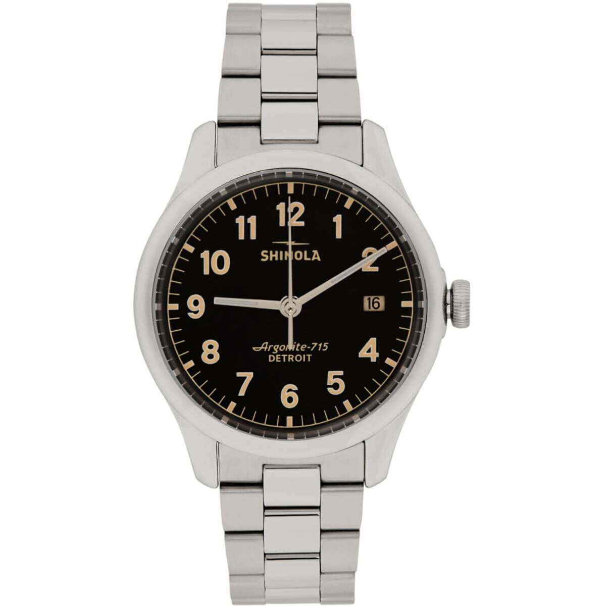 Shinola Silver and Black The Vinton 38mm Watch Ssense USA MEN Men ACCESSORIES Mens WATCHES