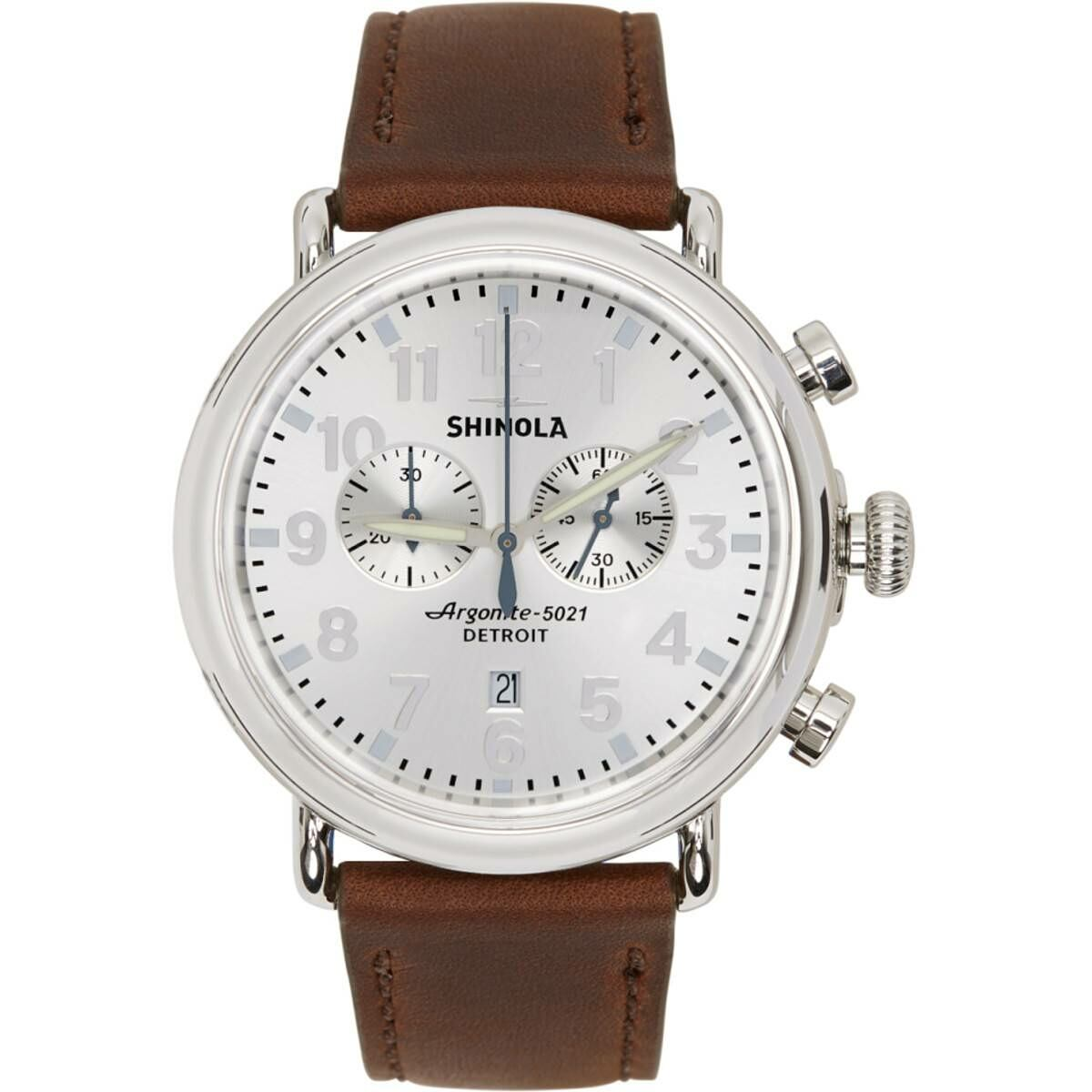 Shinola Silver and Brown The Runwell 47mm Watch Ssense USA MEN Men ACCESSORIES Mens WATCHES