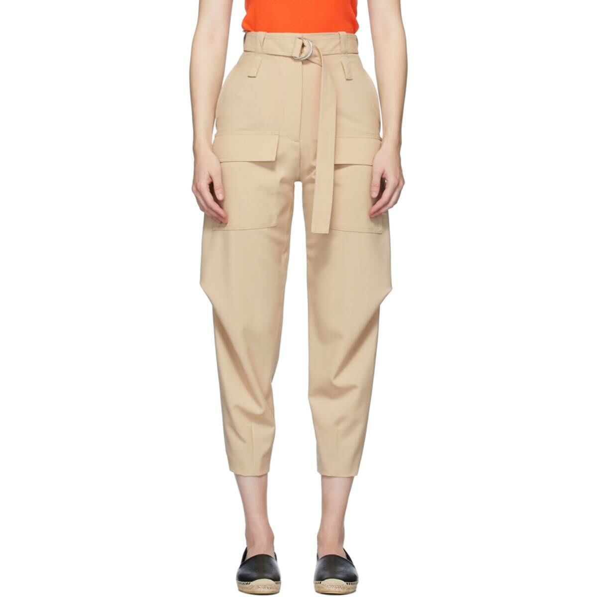 Stella McCartney Beige Wool Adaline Cocoon Trousers Ssense USA WOMEN Women FASHION Womens TROUSERS
